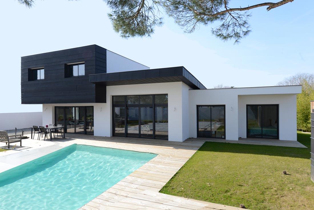 Maison toit plat zinc 1 bm ingenierie - Architecte toulouse maison contemporaine ...